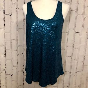 Express Sequined Turquoise Tank/ Cami